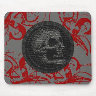 Mousepad o crânio! (Design 1 do círculo) cinza/vermelho do