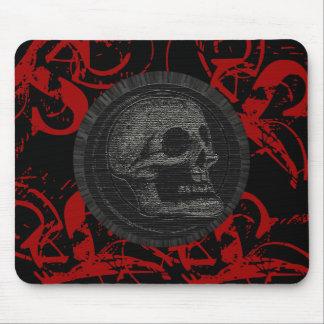 Mousepad o crânio! (Design 1 do círculo) vermelho do estilo