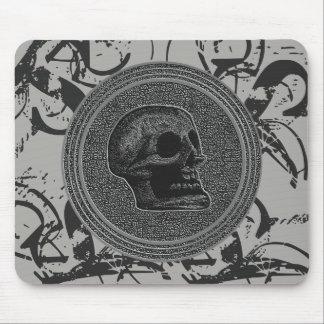 Mousepad o crânio! (Design do círculo) cinza 2018 na pedra