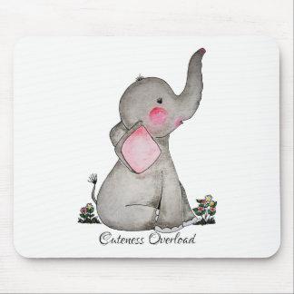 Mousepad O elefante bonito do bebê da aguarela com cora &