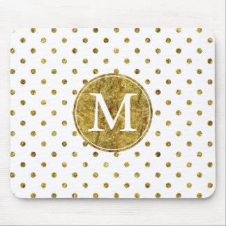Mousepad O encanto chique do ouro pontilha o monograma