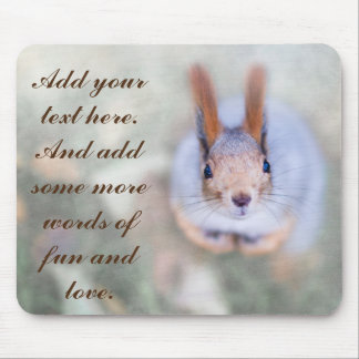 Mousepad O esquilo olha-o a partir de baixo