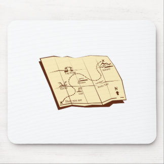 Mousepad O mapa da fuga com X marca o Woodcut do ponto
