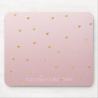 Mousepad O ouro cora corações cor-de-rosa de Ombre