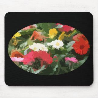 Mousepad O Oval do áster colorido floresce a arte abstracta