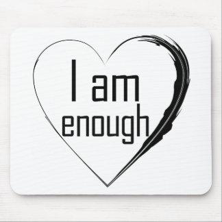 Mousepad o preto emplumou-se o coração 'que eu sou enough