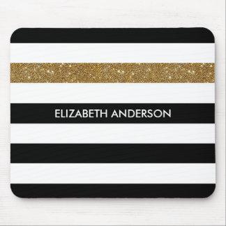 Mousepad O preto moderno listra o Glitz e o nome do ouro do