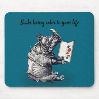 Mousepad O rinoceronte da leitura ama livros
