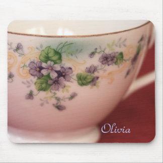 Mousepad O Teacup floral roxo adiciona o nome