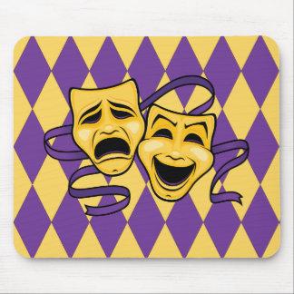 Mousepad O teatro do Harlequin mascara o tapete do rato