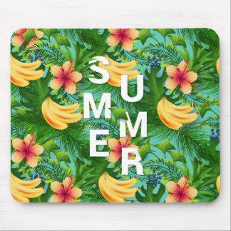 Mousepad O texto tropical do verão na banana floresce o