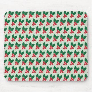 Mousepad O verde vermelho das bagas do Natal deixa o teste