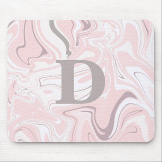 Mousepad Olhar de mármore cor-de-rosa e branco minimalista