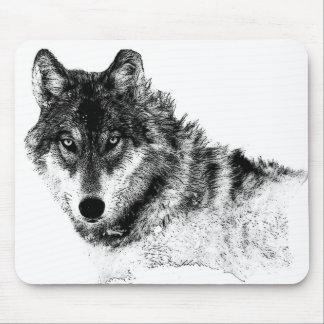 Mousepad Olhos inspirados brancos pretos do lobo
