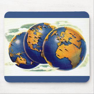 Mousepad os anos 40 como o mundo giram três vistas da terra