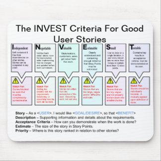Mousepad Os critérios do INVESTIMENTO para boas histórias