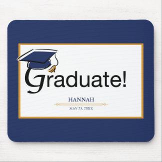 Mousepad Os parabéns graduam-se, chapéu, borla, azul, ouro