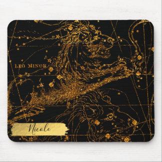 Mousepad Ouro astrológico celestial do leão de LEO do sinal
