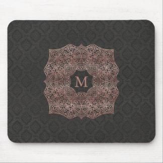 Mousepad Ouro cor-de-rosa damasco preto no monograma