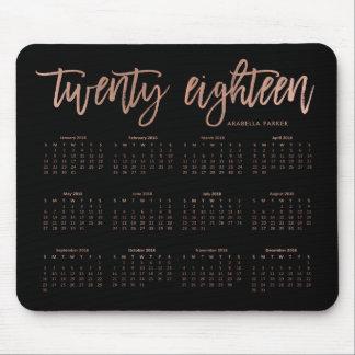 Mousepad Ouro cor-de-rosa do falso moderno do calendário |
