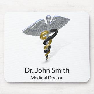 Mousepad Ouro de prata médico do preto do Caduceus -