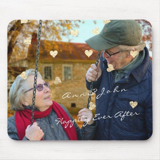 Mousepad Ouro dos corações do ouro da foto do nome do