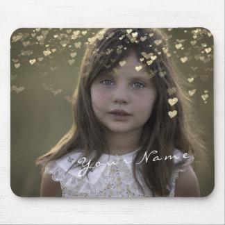 Mousepad Ouro dourado dos corações do roteiro da foto feita