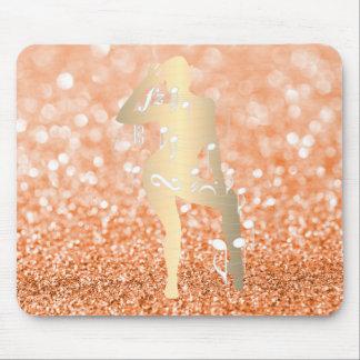 Mousepad Ouro musical da laranja do brilho da menina da