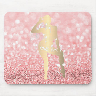 Mousepad Ouro musical do rosa do rosa do brilho da menina