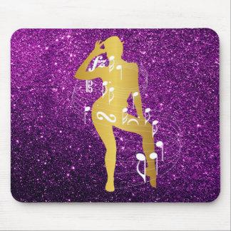 Mousepad Ouro musical do roxo do brilho da menina da dança