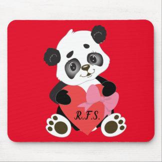 Mousepad Panda do bebê com vermelho do coração