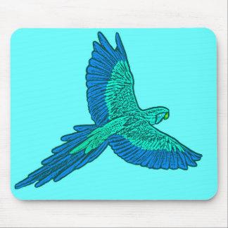 Mousepad Papagaio em vôo, Aqua e azuis cobaltos