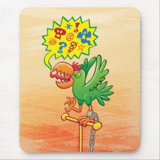 Mousepad Papagaio verde furioso que diz palavras más