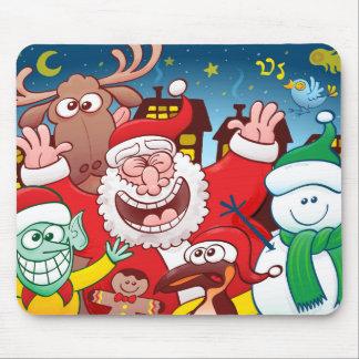 Mousepad Papai Noel e sua equipe estão prontos para o Natal
