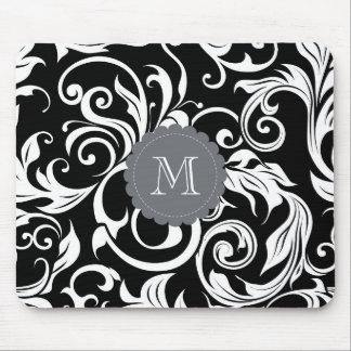 Mousepad Papel de parede floral do monograma branco preto