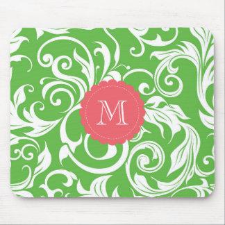 Mousepad Papel de parede floral do monograma saboroso do