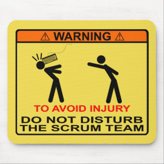 Mousepad Para evitar ferimento, não perturbe a equipe do