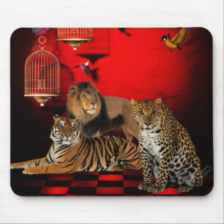 Mousepad Pássaros do leão do leopardo do tigre dos animais