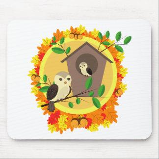 Mousepad Pássaros e Birdhouse no outono