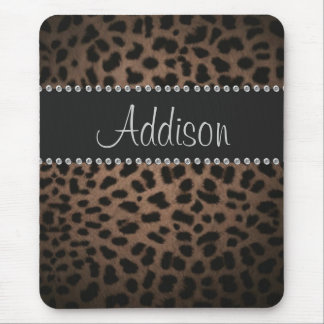 Mousepad Pasta Glam de Bling do leopardo do cristal de