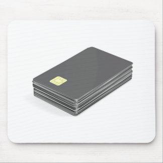 Mousepad Pilha com os cartões plásticos vazios com