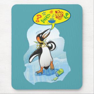 Mousepad Pinguim de rei desesperado que diz palavras más