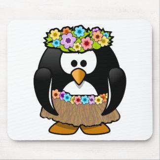 Mousepad Pinguim havaiano com flores e saia de grama