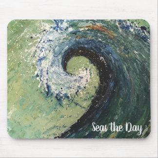 Mousepad Pintura abstrata das belas artes da onda da praia