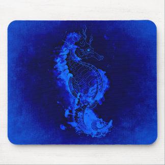 Mousepad Pintura azul do cavalo marinho
