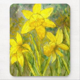 Mousepad Pintura da aguarela, arte amarela das flores,