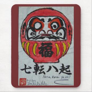 Mousepad Pintura da aguarela da boneca de Daruma por Lita
