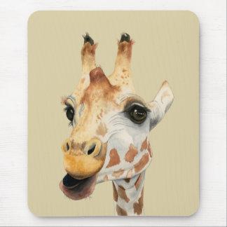 """Mousepad Pintura da aguarela do girafa da """"mastigação"""""""
