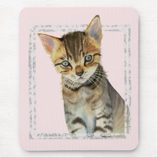 Mousepad Pintura do gatinho do gato malhado com quadro de