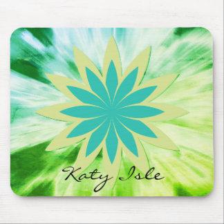 Mousepad Pintura étnica da aguarela verde da flor de Lotus